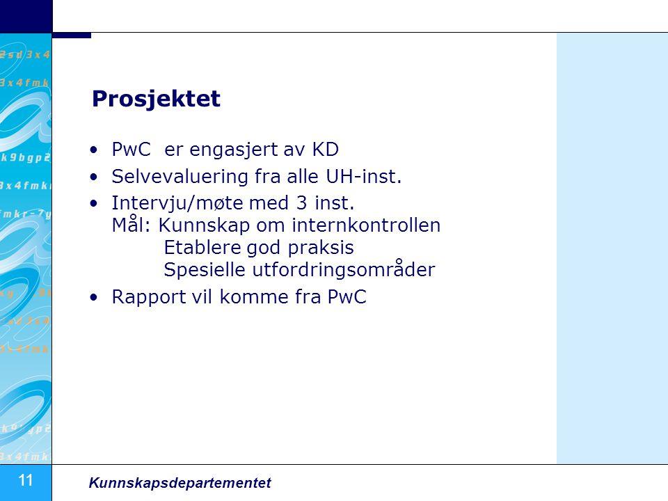 11 Kunnskapsdepartementet Prosjektet PwC er engasjert av KD Selvevaluering fra alle UH-inst.