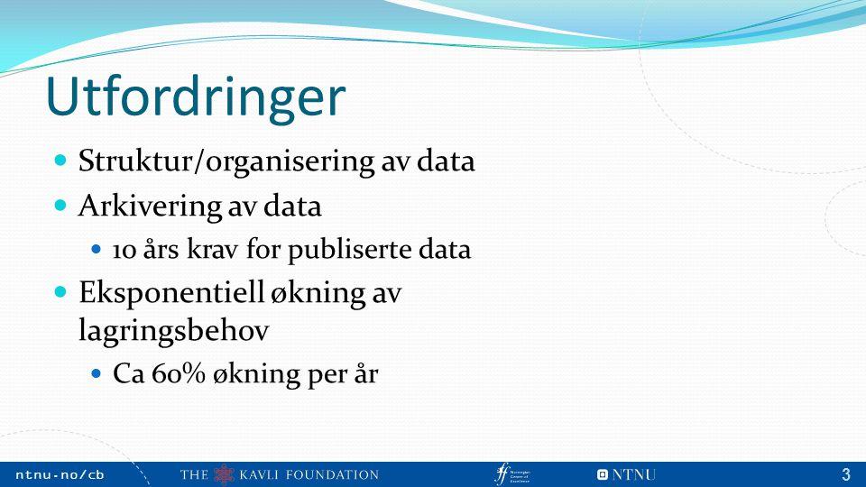 NTNU, May 2009 ntnu.no/cb m 3 Utfordringer Struktur/organisering av data Arkivering av data 10 års krav for publiserte data Eksponentiell økning av lagringsbehov Ca 60% økning per år