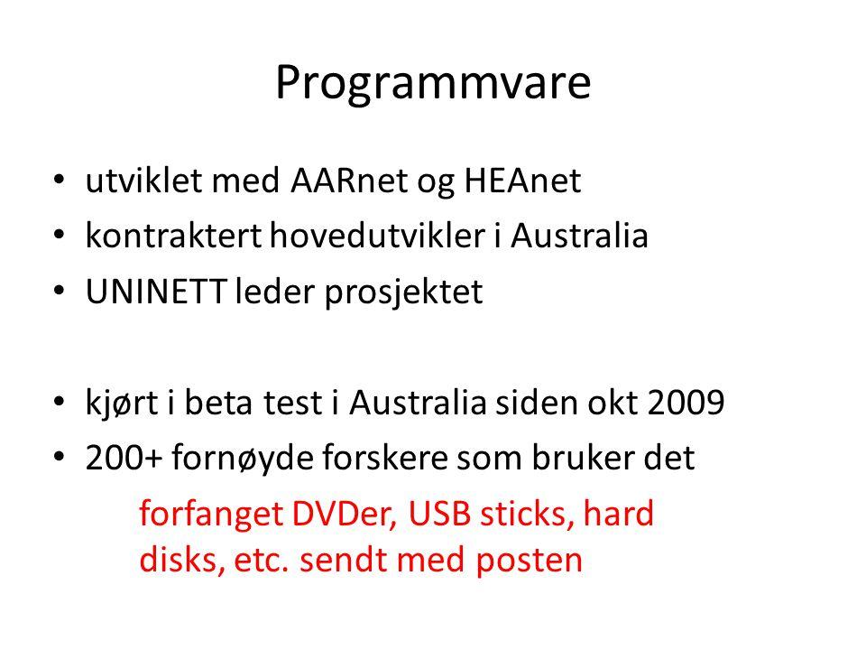 Programmvare utviklet med AARnet og HEAnet kontraktert hovedutvikler i Australia UNINETT leder prosjektet kjørt i beta test i Australia siden okt 2009 200+ fornøyde forskere som bruker det forfanget DVDer, USB sticks, hard disks, etc.
