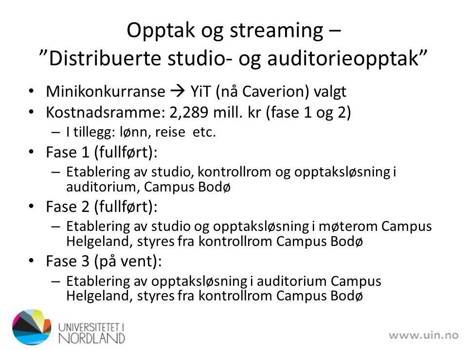 Opptak og streaming – Distribuerte studio- og auditorieopptak Minikonkurranse  YiT (nå Caverion) valgt Kostnadsramme: 2,289 mill.