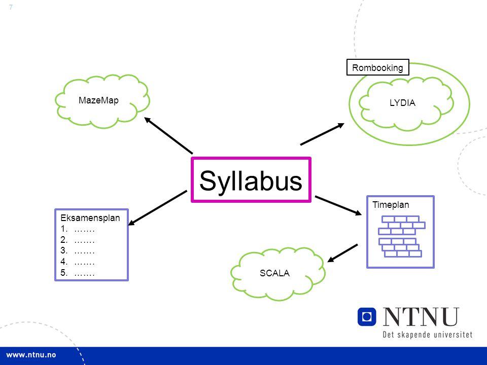 7 Syllabus LYDIA MazeMap SCALA Eksamensplan 1.……. 2.……. 3.……. 4.……. 5.……. Timeplan Rombooking