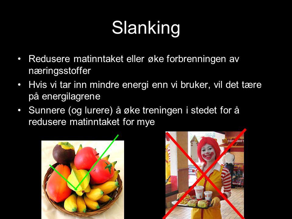 Slanking Redusere matinntaket eller øke forbrenningen av næringsstoffer Hvis vi tar inn mindre energi enn vi bruker, vil det tære på energilagrene Sun