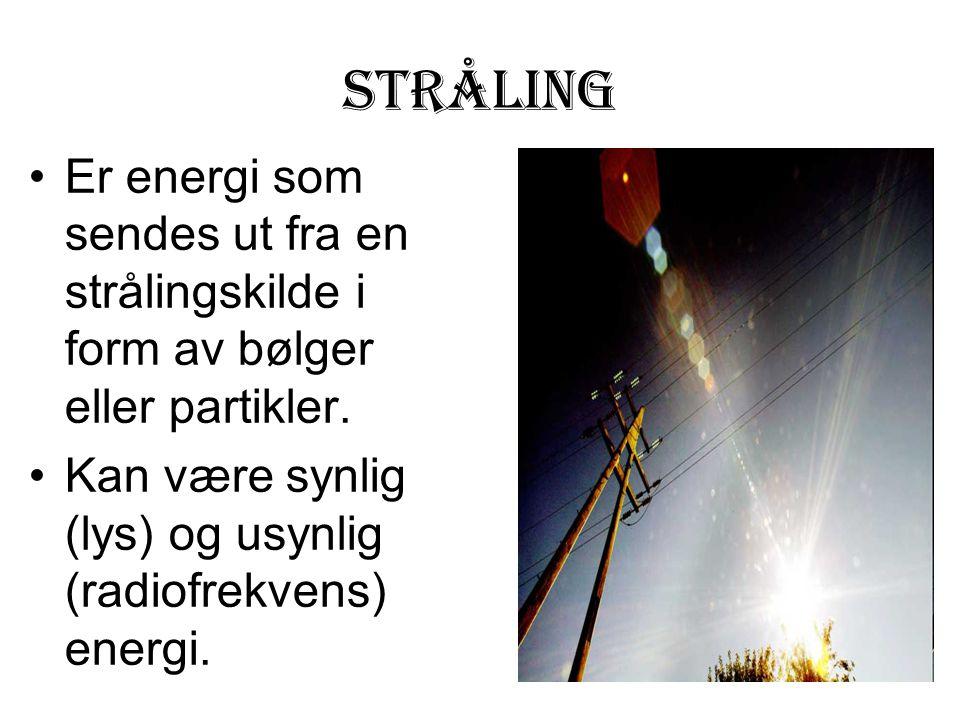 STRÅLING Er energi som sendes ut fra en strålingskilde i form av bølger eller partikler. Kan være synlig (lys) og usynlig (radiofrekvens) energi.
