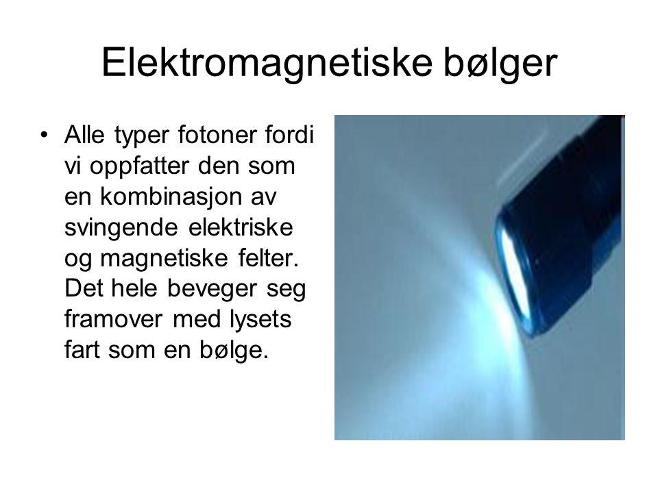 Elektromagnetiske bølger Alle typer fotoner fordi vi oppfatter den som en kombinasjon av svingende elektriske og magnetiske felter. Det hele beveger s