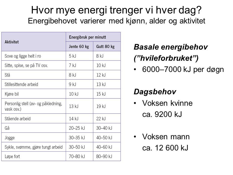 """Hvor mye energi trenger vi hver dag? Energibehovet varierer med kjønn, alder og aktivitet Basale energibehov (""""hvileforbruket"""") 6000–7000 kJ per døgn"""