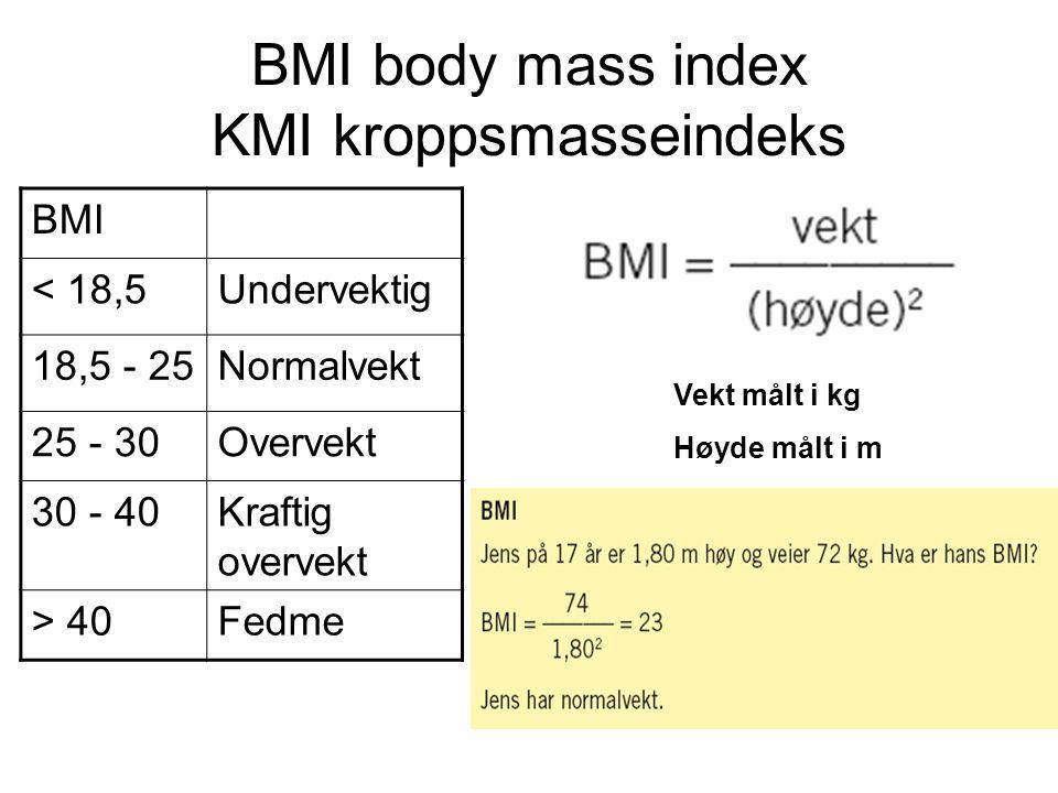 BMI body mass index KMI kroppsmasseindeks BMI < 18,5Undervektig 18,5 - 25Normalvekt 25 - 30Overvekt 30 - 40Kraftig overvekt > 40Fedme Vekt målt i kg H