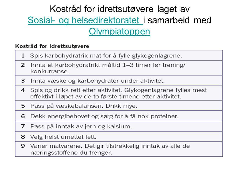 Kostråd for idrettsutøvere laget av Sosial- og helsedirektoratet i samarbeid med Olympiatoppen Sosial- og helsedirektoratet Olympiatoppen