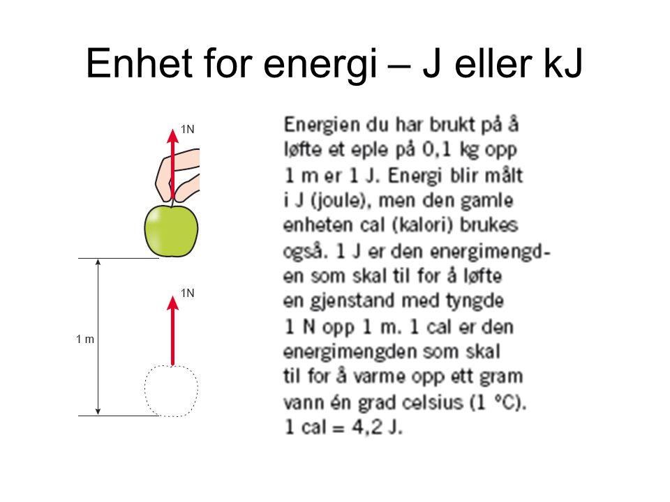 Enhet for energi – J eller kJ
