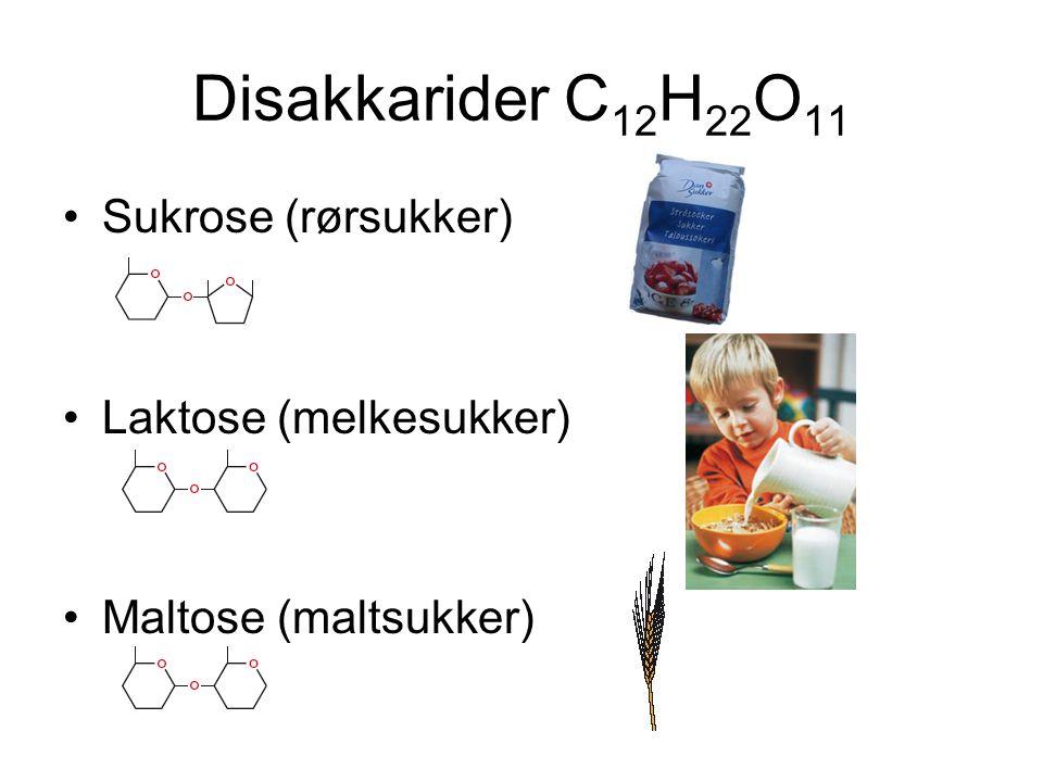 Polysakkarider Stivelse (energilager i planter) Cellulose (cellevegger i planter) Glykogen (energilager i lever og muskler) Langsomme karbohydrater