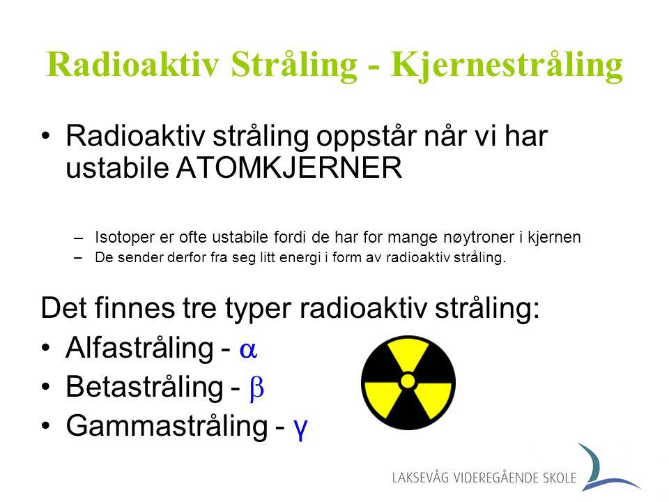 Alfastråling Alfastråling har vi når atom- kjerner sender ut helium- kjerner (to nøytroner og to protoner) med stor fart.