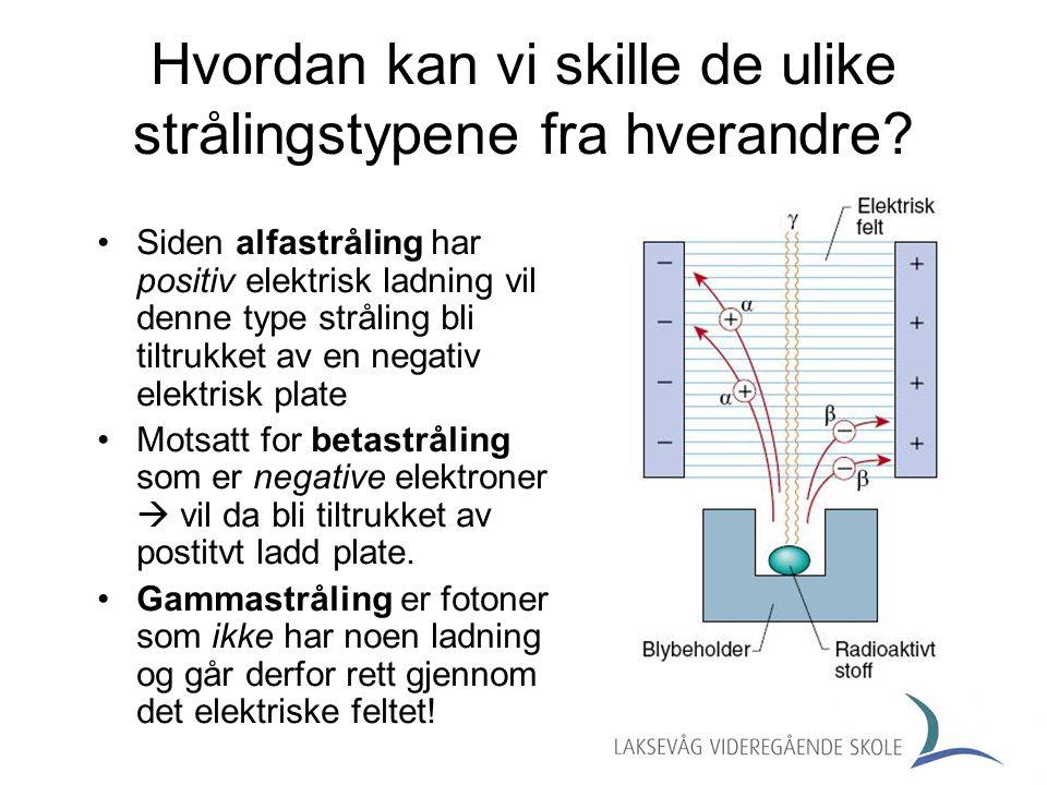 Eksempler på hva som skjer med kjernen som er igjen Protoner + Nøytroner Protoner ALFASTRÅLING: BETASTRÅLING: Radioaktive serier 