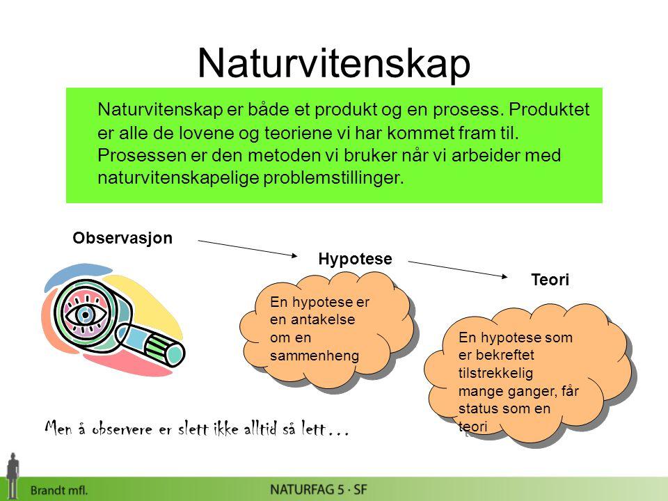 Naturvitenskap Naturvitenskap er både et produkt og en prosess. Produktet er alle de lovene og teoriene vi har kommet fram til. Prosessen er den metod