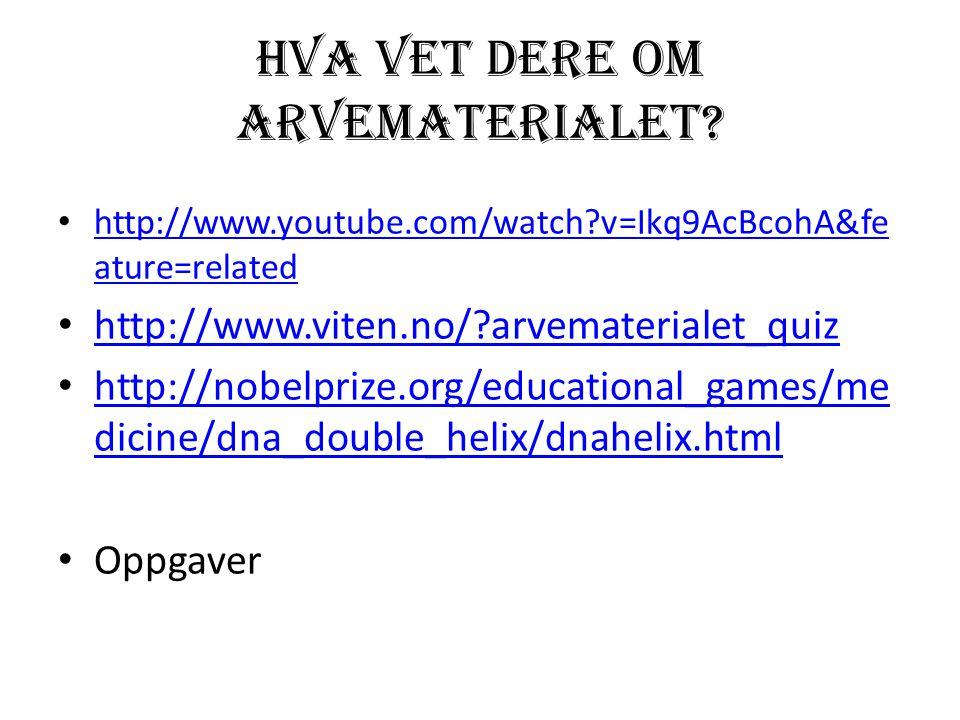 Hva vet dere om arvematerialet? http://www.youtube.com/watch?v=Ikq9AcBcohA&fe ature=related http://www.youtube.com/watch?v=Ikq9AcBcohA&fe ature=relate