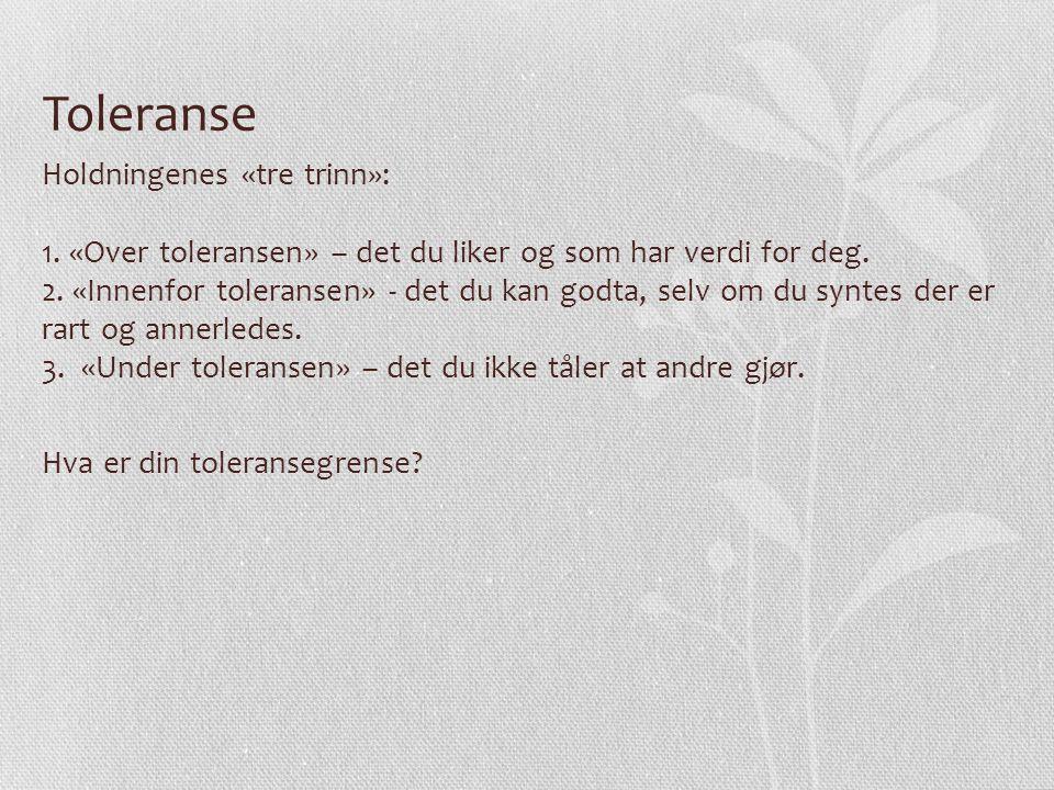 Toleranse Holdningenes «tre trinn»: 1. «Over toleransen» – det du liker og som har verdi for deg. 2. «Innenfor toleransen» - det du kan godta, selv om