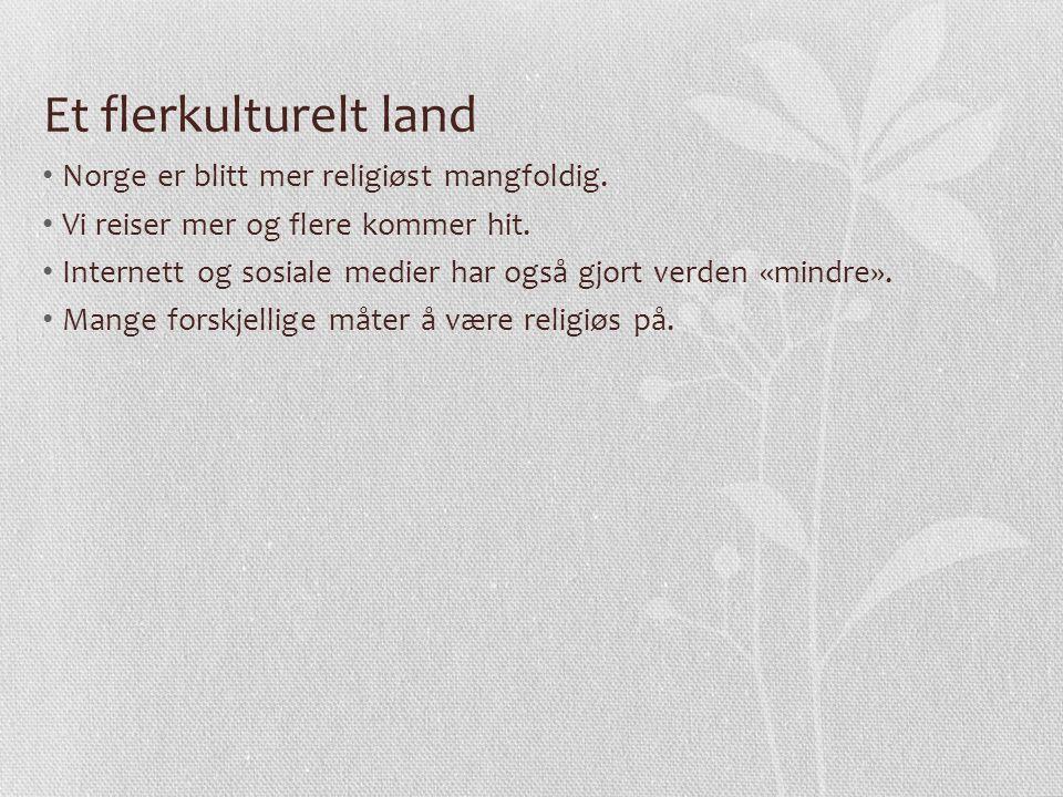 Et flerkulturelt land Norge er blitt mer religiøst mangfoldig. Vi reiser mer og flere kommer hit. Internett og sosiale medier har også gjort verden «m