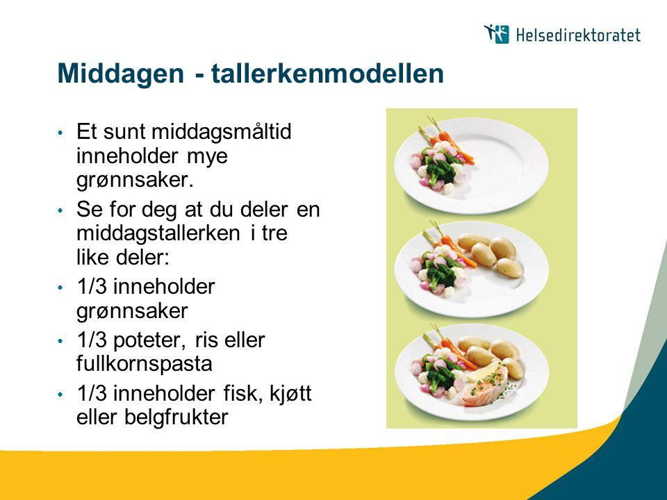 Middagen - tallerkenmodellen Et sunt middagsmåltid inneholder mye grønnsaker. Se for deg at du deler en middagstallerken i tre like deler: 1/3 innehol