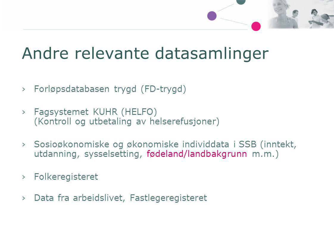 Andre relevante datasamlinger ›Forløpsdatabasen trygd (FD-trygd) ›Fagsystemet KUHR (HELFO) (Kontroll og utbetaling av helserefusjoner) ›Sosioøkonomisk