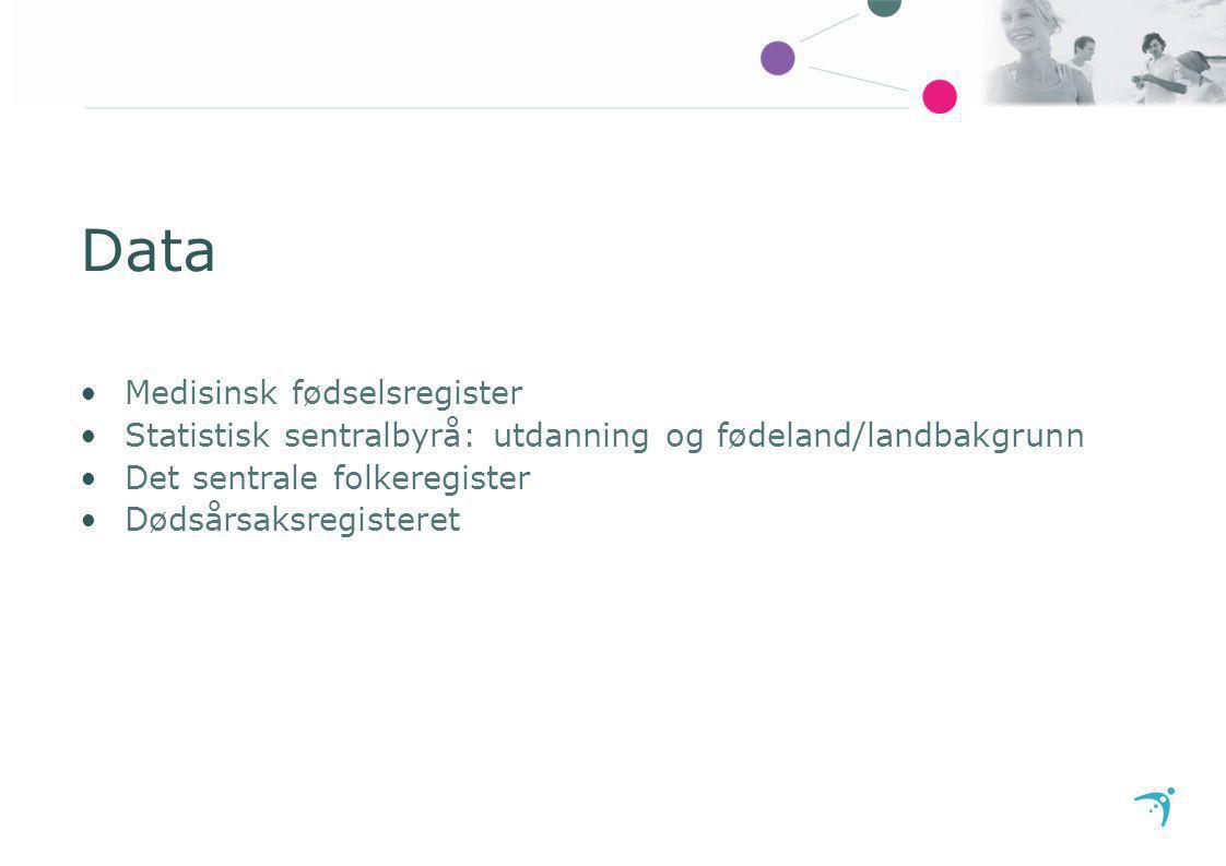 Data Medisinsk fødselsregister Statistisk sentralbyrå: utdanning og fødeland/landbakgrunn Det sentrale folkeregister Dødsårsaksregisteret