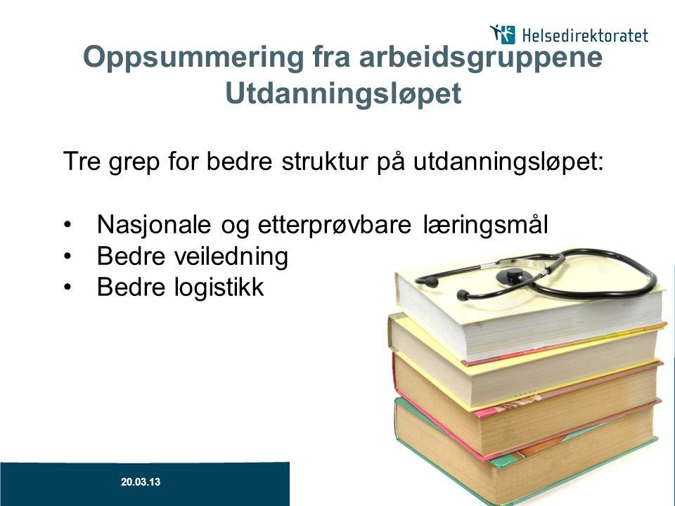Oppsummering fra arbeidsgruppene Utdanningsløpet Tre grep for bedre struktur på utdanningsløpet: Nasjonale og etterprøvbare læringsmål Bedre veilednin