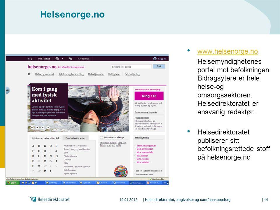 19.04.2012| Helsedirektoratet, omgivelser og samfunnsoppdrag| 14 Helsenorge.no www.helsenorge.no Helsemyndighetenes portal mot befolkningen.