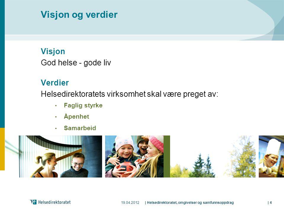 19.04.2012| Helsedirektoratet, omgivelser og samfunnsoppdrag| 4 Visjon og verdier Visjon God helse - gode liv Verdier Helsedirektoratets virksomhet sk