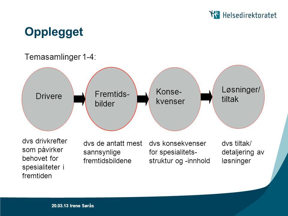 Opplegget Temasamlinger 1-4: Drivere Fremtids- bilder Konse- kvenser Løsninger/ tiltak dvs drivkrefter som påvirker behovet for spesialiteter i fremti