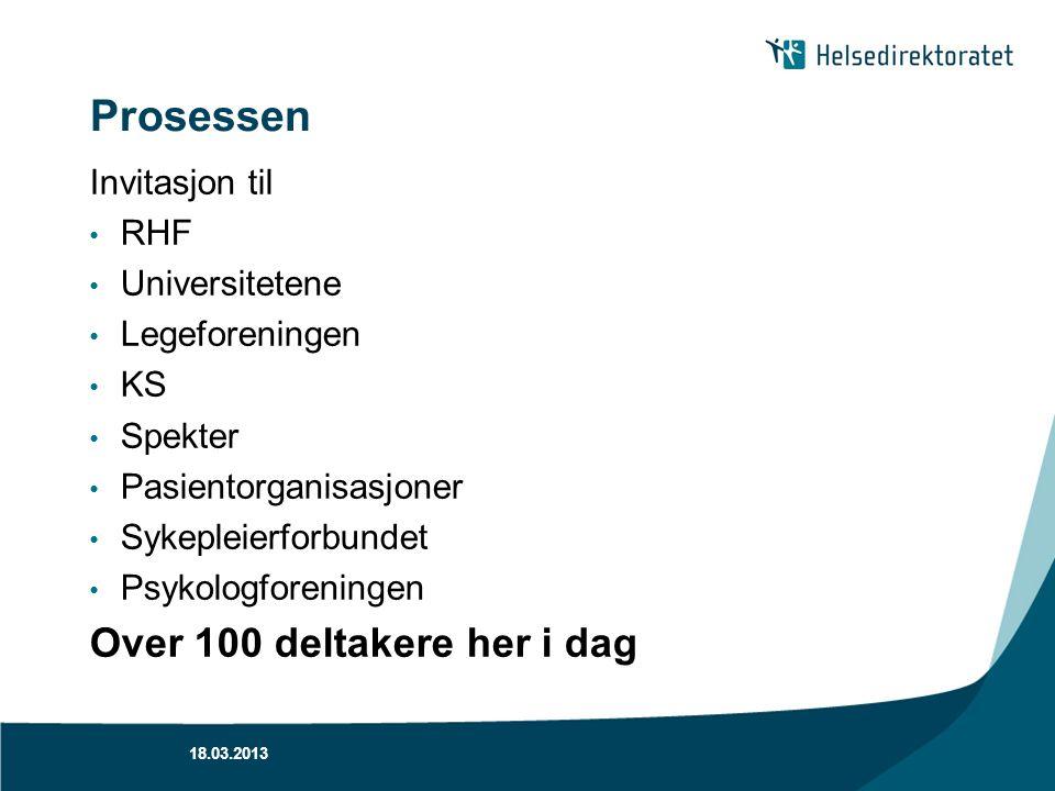 Prosessen Invitasjon til RHF Universitetene Legeforeningen KS Spekter Pasientorganisasjoner Sykepleierforbundet Psykologforeningen Over 100 deltakere
