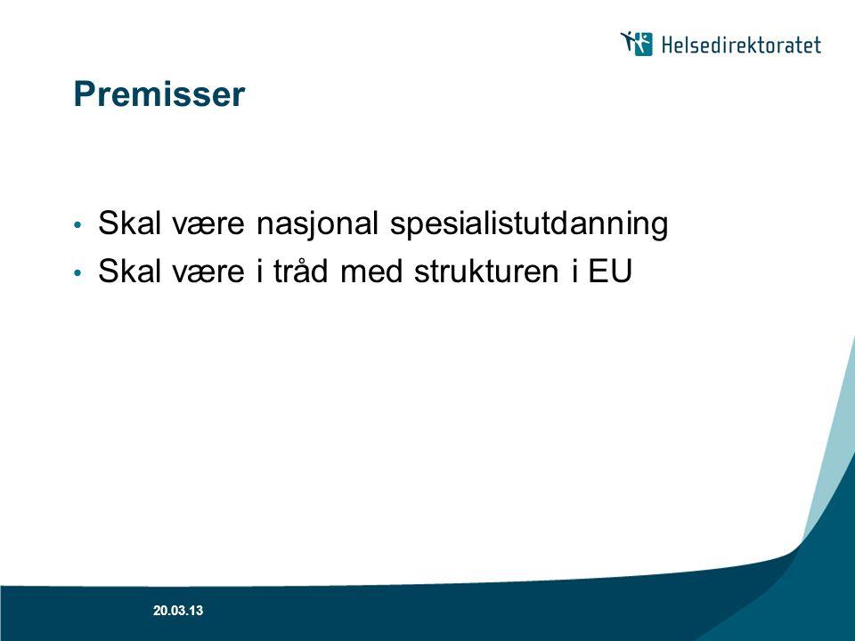 Premisser Skal være nasjonal spesialistutdanning Skal være i tråd med strukturen i EU 20.03.13