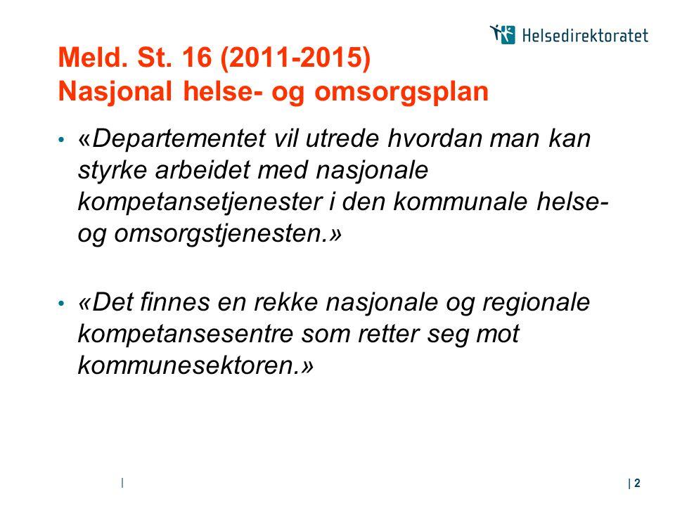 Meld. St. 16 (2011-2015) Nasjonal helse- og omsorgsplan «Departementet vil utrede hvordan man kan styrke arbeidet med nasjonale kompetansetjenester i