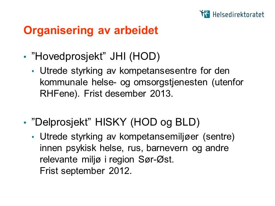 """Organisering av arbeidet """"Hovedprosjekt"""" JHI (HOD) Utrede styrking av kompetansesentre for den kommunale helse- og omsorgstjenesten (utenfor RHFene)."""