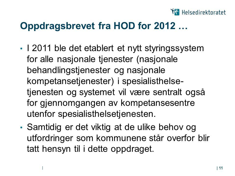 Oppdragsbrevet fra HOD for 2012 … I 2011 ble det etablert et nytt styringssystem for alle nasjonale tjenester (nasjonale behandlingstjenester og nasjo