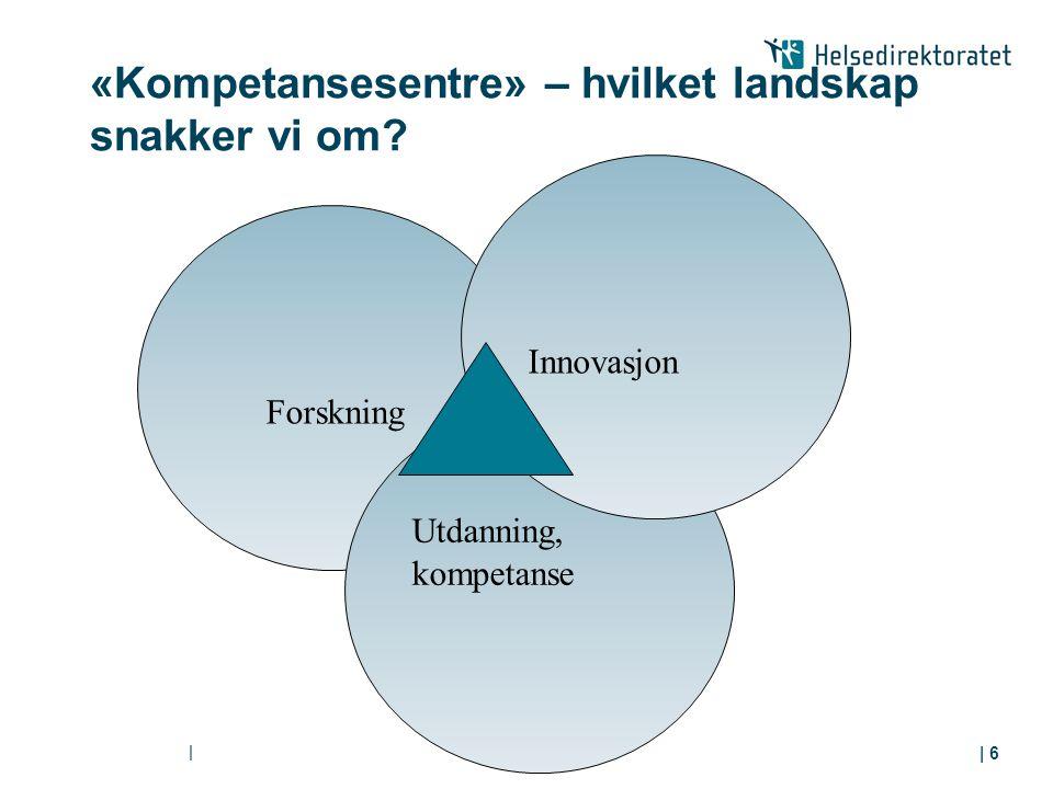 «Kompetansesentre» – hvilket landskap snakker vi om? | | 6 Forskning Utdanning, kompetanse Innovasjon