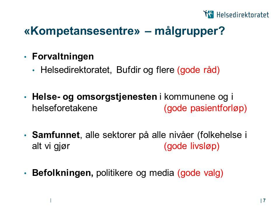 «Kompetansesentre» – målgrupper? Forvaltningen Helsedirektoratet, Bufdir og flere (gode råd) Helse- og omsorgstjenesten i kommunene og i helseforetake