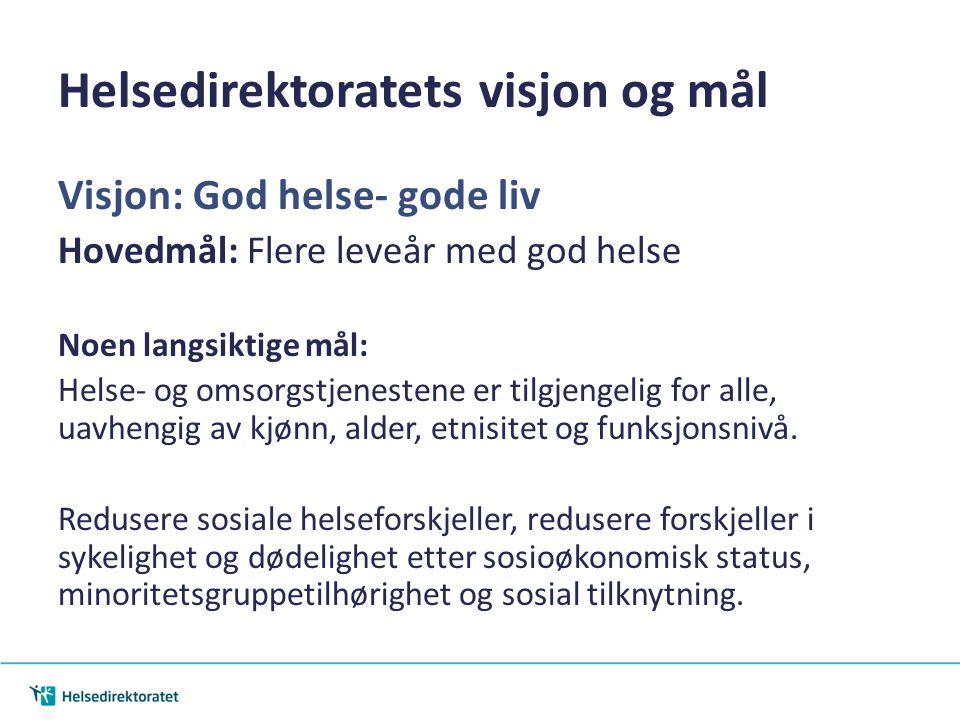 Helsedirektoratets visjon og mål Visjon: God helse- gode liv Hovedmål: Flere leveår med god helse Noen langsiktige mål: Helse- og omsorgstjenestene er