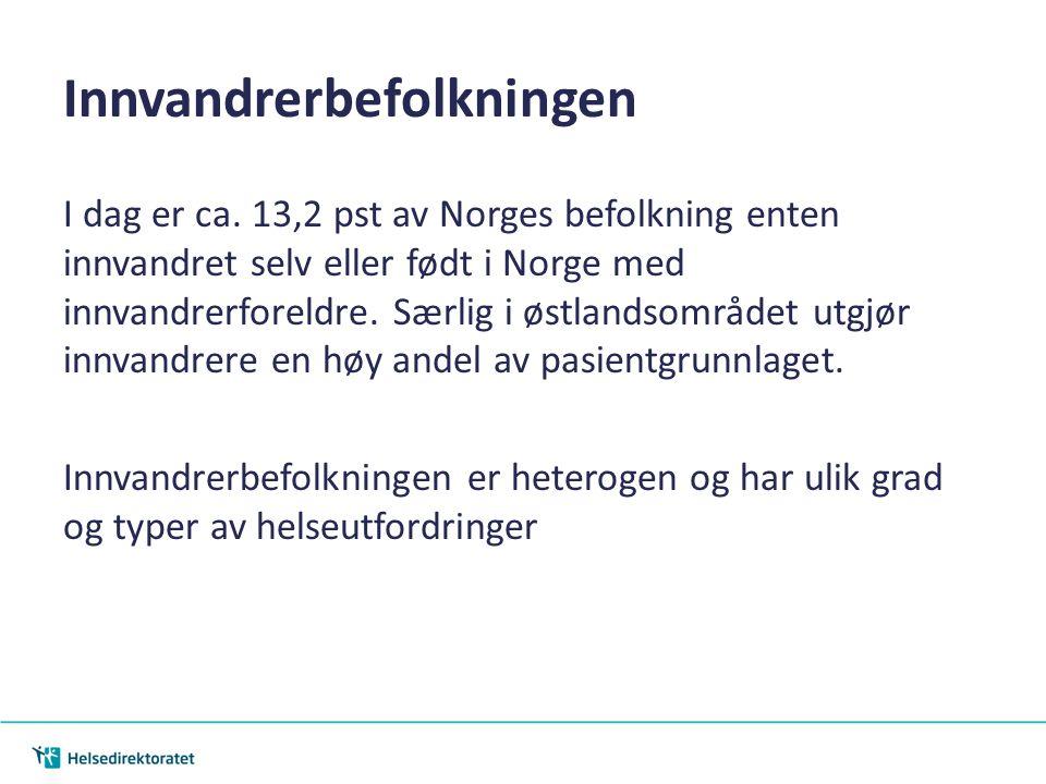 Innvandrerbefolkningen I dag er ca. 13,2 pst av Norges befolkning enten innvandret selv eller født i Norge med innvandrerforeldre. Særlig i østlandsom