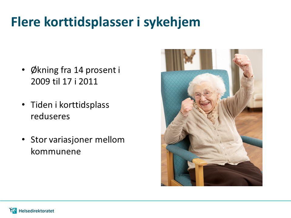 Flere korttidsplasser i sykehjem Økning fra 14 prosent i 2009 til 17 i 2011 Tiden i korttidsplass reduseres Stor variasjoner mellom kommunene