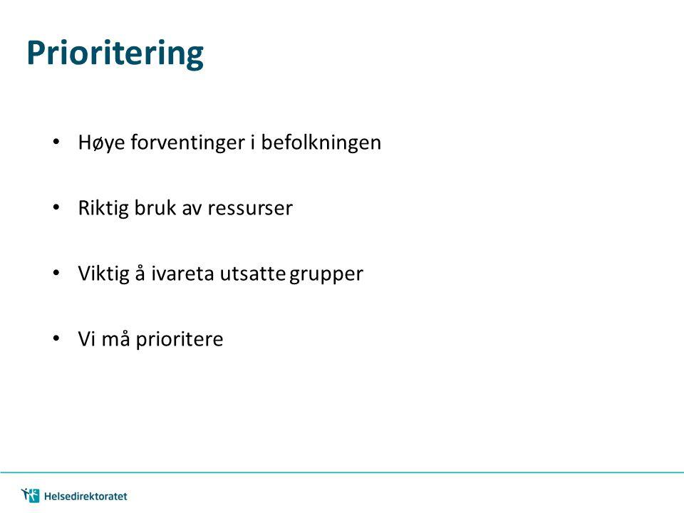 Prioritering Høye forventinger i befolkningen Riktig bruk av ressurser Viktig å ivareta utsatte grupper Vi må prioritere 15.02.2013 Samhandlingsstatis