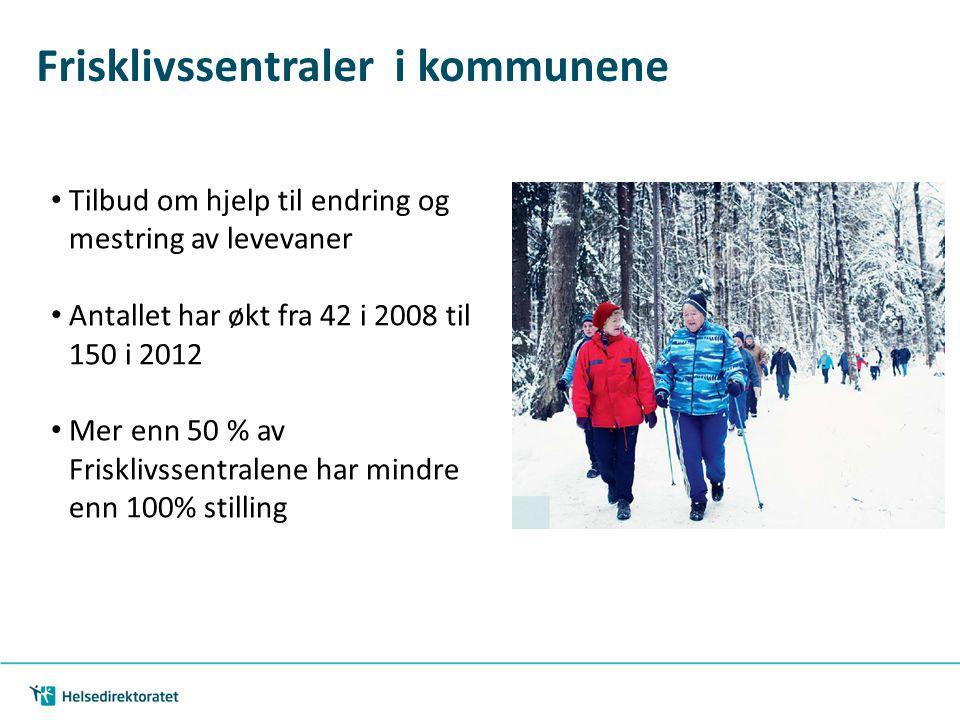 Frisklivssentraler i kommunene Tilbud om hjelp til endring og mestring av levevaner Antallet har økt fra 42 i 2008 til 150 i 2012 Mer enn 50 % av Fris