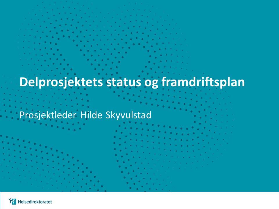 Delprosjektets status og framdriftsplan Prosjektleder Hilde Skyvulstad