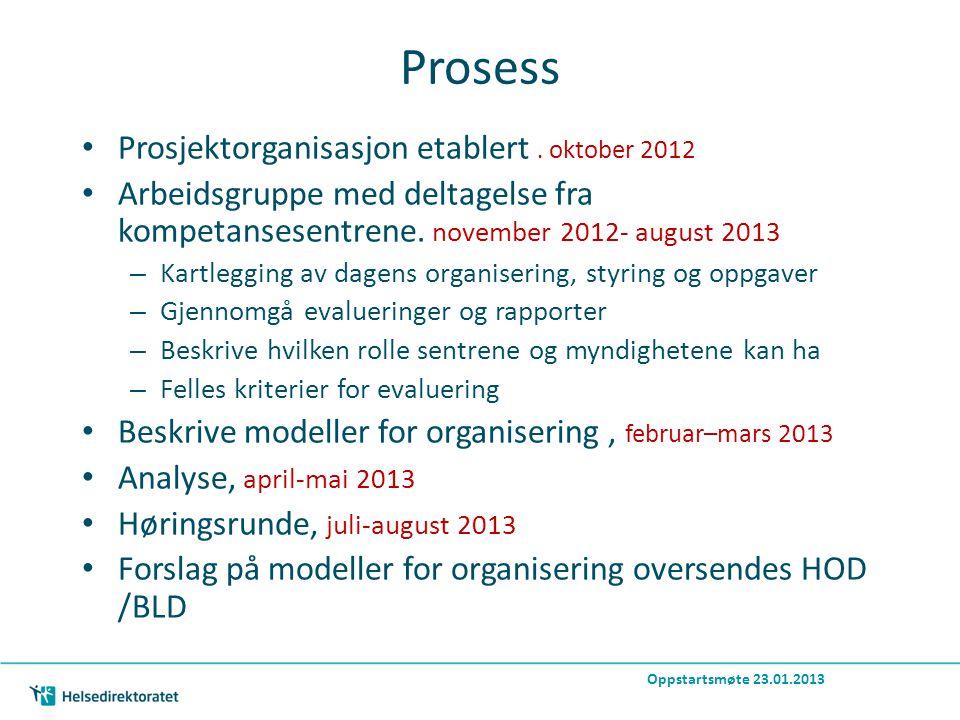 Prosess Prosjektorganisasjon etablert.