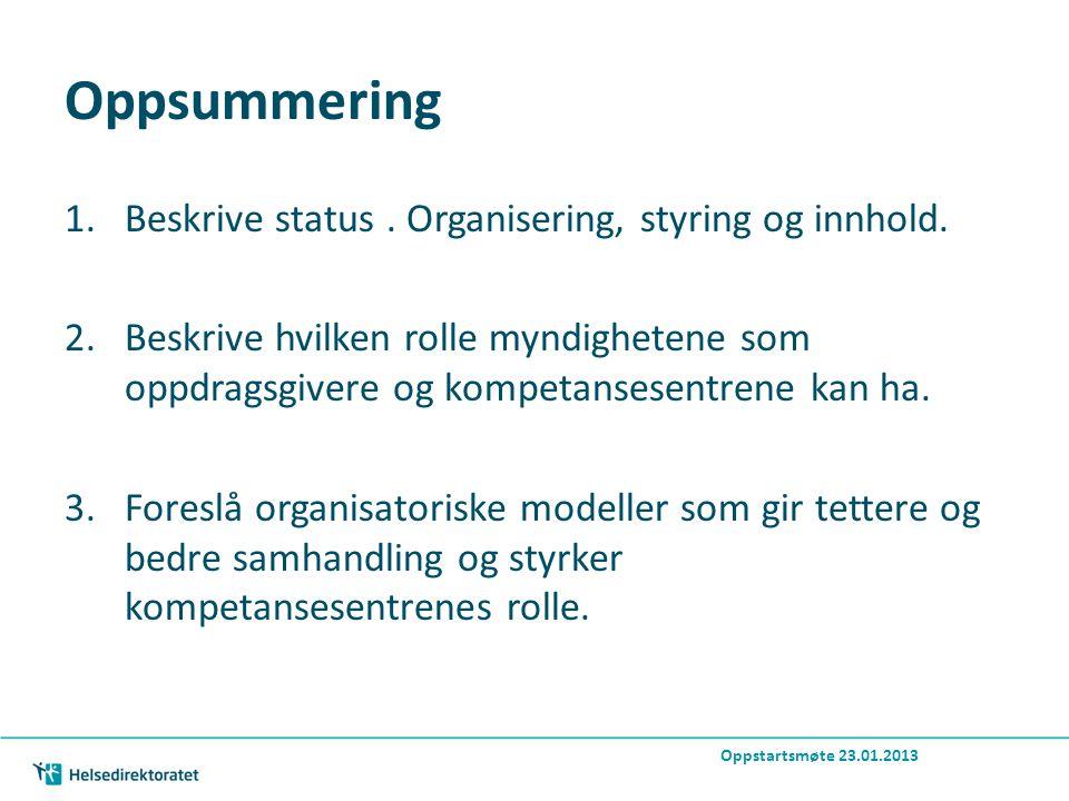 Oppsummering 1.Beskrive status. Organisering, styring og innhold.