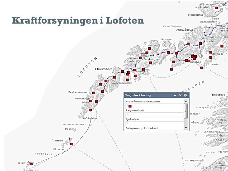 Kraftforsyningen i Lofoten Kilde: NVE Atlas