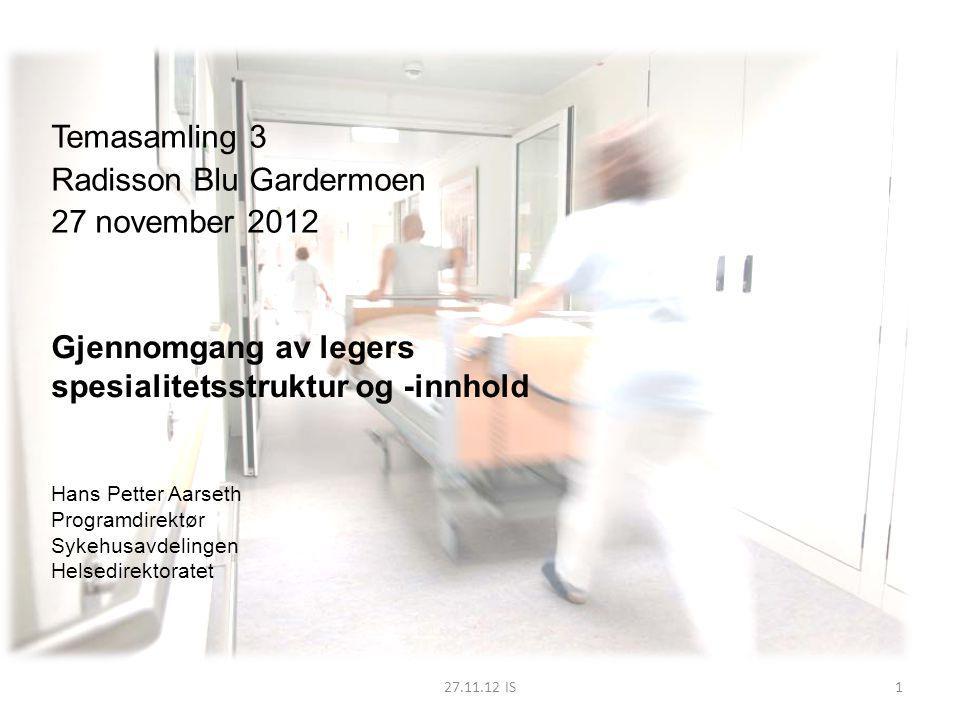 27.11.12 IS Temasamling 3 Radisson Blu Gardermoen 27 november 2012 Gjennomgang av legers spesialitetsstruktur og -innhold Hans Petter Aarseth Programd