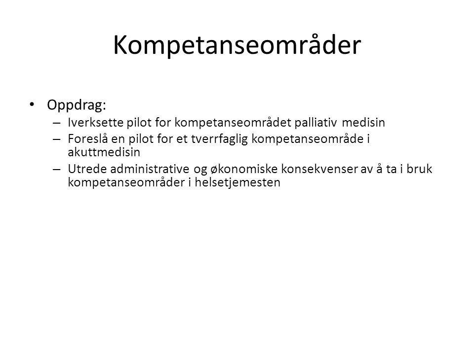 Kompetanseområder Oppdrag: – Iverksette pilot for kompetanseområdet palliativ medisin – Foreslå en pilot for et tverrfaglig kompetanseområde i akuttme
