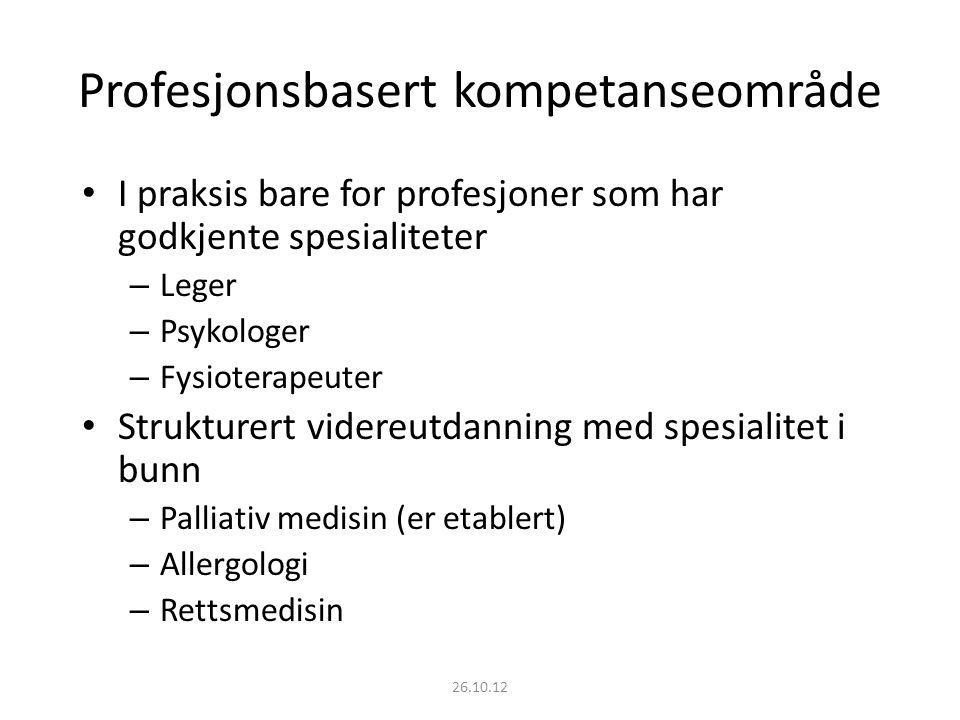 Profesjonsbasert kompetanseområde I praksis bare for profesjoner som har godkjente spesialiteter – Leger – Psykologer – Fysioterapeuter Strukturert vi