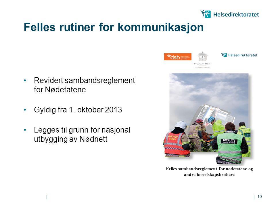 || Felles rutiner for kommunikasjon Revidert sambandsreglement for Nødetatene Gyldig fra 1. oktober 2013 Legges til grunn for nasjonal utbygging av Nø