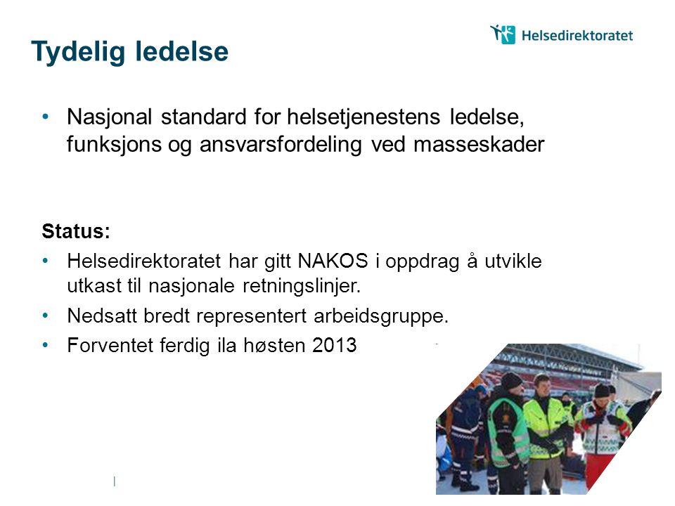 || Nasjonal standard for helsetjenestens ledelse, funksjons og ansvarsfordeling ved masseskader Status: Helsedirektoratet har gitt NAKOS i oppdrag å utvikle utkast til nasjonale retningslinjer.