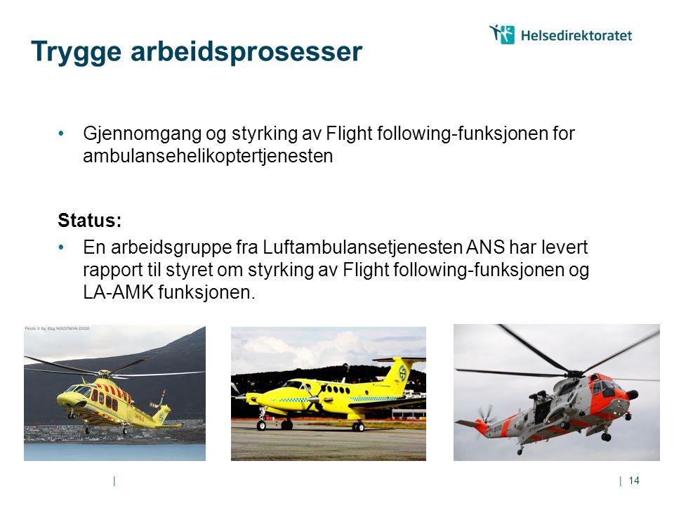 || Gjennomgang og styrking av Flight following-funksjonen for ambulansehelikoptertjenesten Status: En arbeidsgruppe fra Luftambulansetjenesten ANS har