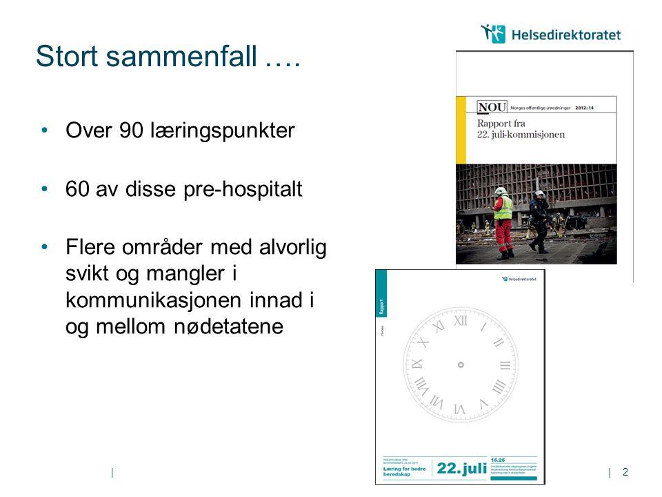 || Stort sammenfall …. 2 Over 90 læringspunkter 60 av disse pre-hospitalt Flere områder med alvorlig svikt og mangler i kommunikasjonen innad i og mel