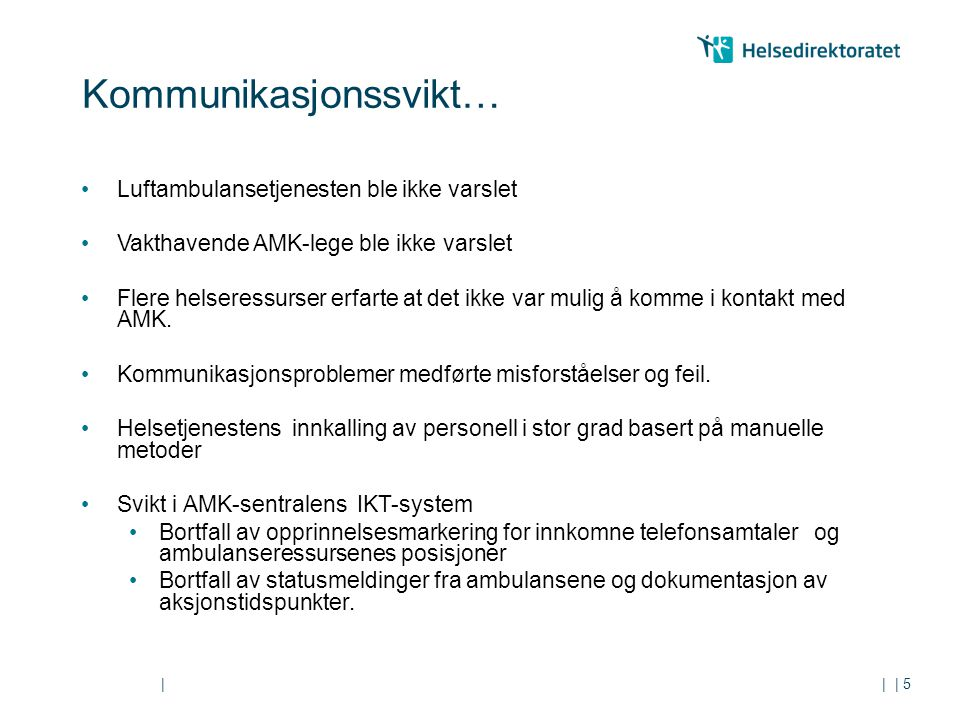|| Kommunikasjonssvikt… Luftambulansetjenesten ble ikke varslet Vakthavende AMK-lege ble ikke varslet Flere helseressurser erfarte at det ikke var mulig å komme i kontakt med AMK.